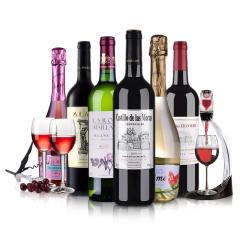 法国进口红酒干白干红起泡葡萄酒 6支装整箱组合750ml*6  送醒酒器+酒杯